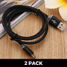 2 PACK BRAIDED Micro USB Cables (2m) Charge & Sync for Samsung Galaxy S7