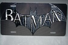 BATMAN METAL LICENSE PLATE FOR CARS AND TRUCKS CARBON FIBER LOOK BACKGROUND