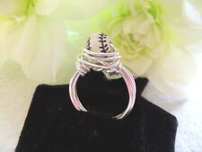 Wire Wrapped Baseball Ring  Baseball Bead SP or GP Permanate Wire Wrap Baseball