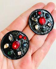 BEAUTIFUL ZARA VINTAGE LOOK RUBY RED GLASS RHINESTONES BLACK STUD EARRINGS