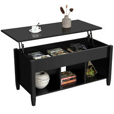 Lift Up Top Coffee Table w/Hidden Compartment & 3 Cube Open Shelves Living Room