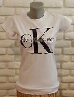 Brand New Women White T-Shirt Calvin Klein S/M/L/XL no Tag Free Shipping