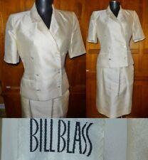 Vtg 70s BILL BLASS Ivory Shantung SILK Wedding Party dress Jacket Skirt SUIT SET