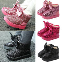 Kids Girls Rabbit Ears Bowknot Ankle Boots Sequins Glitter Fur Lined Warm Shoes