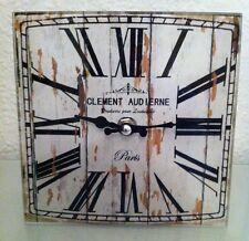 Clayre & Eef*Glas Wanduhr*17cm*Lanhaus*Retro*Shabby*Vintage*Paris*Eckig*braun