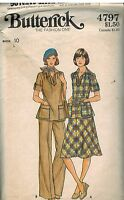 4797 Vintage Butterick SEWING Pattern Misses Top Skirt Pants 1970's Casual OOP