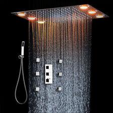 "20"" LED Rainfall Shower Heads Sets Bathroom Thermostatic Valve Faucet Bath Mixer"