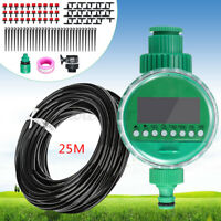 15-25M DIY Micro Drip Water Irrigation Auto Timer Self Plant Garden Hose  m f