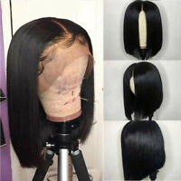 Short Curly Lace Front Human Hair Wig Brazilian Bob Water Wave Pre plucked USA