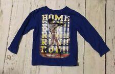 Boys Size 4 Long Sleeve Baseball Shirt Blue Euc
