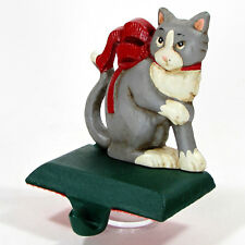 """Midwest of Cannon Falls CHRISTMAS CAT 4.5"""" Cast Iron Stocking Hanger Red Ribbon"""