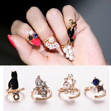 Anillos de uñas de perlas circón gato conjunto 4pcs/set elegante nudillo anillo