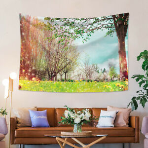 Spring Nature Trees and Green Grass Tapestry Wall Hanging for Living Room Dorm