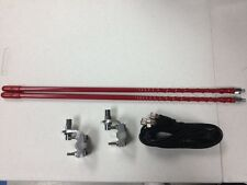 RED DUAL 4' CB TOP LOADED ANTENNA KIT WITH  3 WAY MIRROR MOUNTS & COPHASE COAX