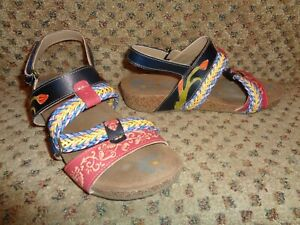 """ELITE BY CORKYS """"CROWN"""" RED NAVY YELLOW GREEN+ LEATHER ARTSY STRAPPY SANDALS--7"""
