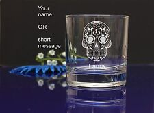 Personalised SUGAR SKULL engraved whiskey glass for Birthday, Christmas gift 141