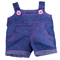 "DUNGAREES OVERALLS with pink stitching OUTFIT FOR 16""/40cm  BUILD your own BEARS"