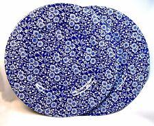 2 Churchill English Calico Chintz Cobalt Blue White Flower Dinner Plates