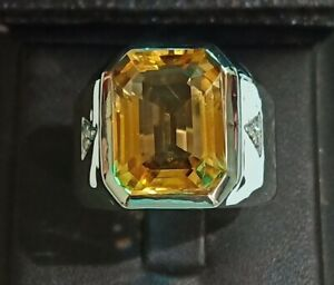 925 Sterling Silver Emerald Cut Yellow Citrin 12x16 mm Men Ring MT4