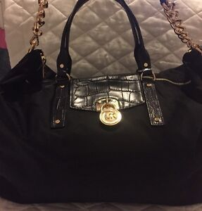 New Michael Kors XLarge Weekender Bag Purse Black Leather Embossed MK Overnight
