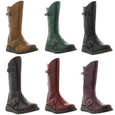 Fly London Mes 2 Womens Mid Calf Wedge Zip Up Leather Boots Size UK 4-8