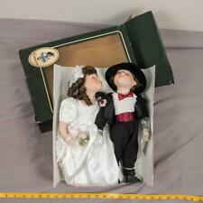 "Geppeddo Porcelain Bride & Groom Kissing Dolls 14"" Tall Vintage tthc"