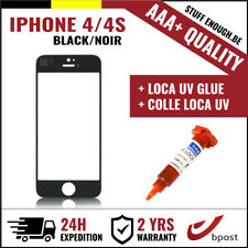 AAA+ FRONT GLASS/FRONT GLAS/VERRE AVANT BLACK + REPAIR GLUE FOR IPHONE 4/4S