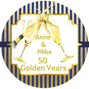 GOLDEN WEDDING PERSONALISED GLOSS CELEBRATION, BIRTHDAY, STICKERS ANY TEXT