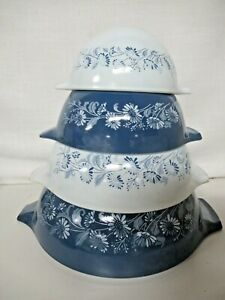 "Pyrex Cinderella Mixing Bowls ""Colonial Mist"" Blue"