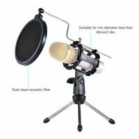 Microphone Mic Shock Mount Studio Table Desktop Top Tripod Stand w/ Pop Filter
