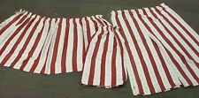 Curtains X 2 Pairs Red & Gold Stripe, 109 X 105 Cms & 168 X 70 Cms, Vintage