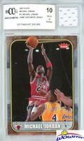 2007 Fleer #12 Michael Jordan+Game Used Jersey BECKETT 10 MINT 1986 Fleer Design