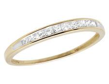 Ladies 10K Yellow Gold Genuine Diamonds Princess Wedding Band Ring 0.25 2MM