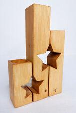 Set of 3 Handmade Star Shaped Wooden Tea Light Holders Rustic Antique Pine