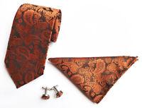 Tie Cufflinks Pocket Square Hanky Set Orange Black Paisley Handmade 100% Silk