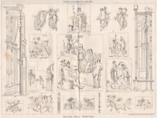 Antique wall paintings . Decorative 1875 old vintage print picture