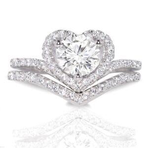 Halo Heart Brilliant Chevron Genuine Sterling Silver Wedding Engagement Ring Set