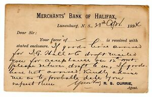 MERCHANTS' BANK OF HALIFAX, HALIFAX, N. S. ON POST CARD- 1894 -R.S. CURRIE AGENT