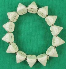 """Women's Ladies Girls White Spike Bone Stretch Bracelet Fits up to 6"""" Wrist"""