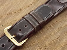 """Vintage NOS Channel Groove Shell Cordovan Black 16mm 5/8"""" Heilbrun watch band"""