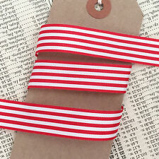 Red & White Nautical Stripe Ribbon 16mm - Christmas Craft Cards Cake Decorations