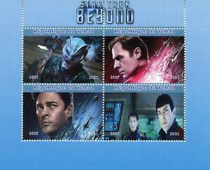 Chad Star Trek Stamps 2021 MNH Beyond Spock Kirk Kelvin Timeline Film 4v M/S II