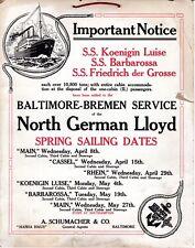 1914 Hamburg American Line Baltimore Sailings Poster - NAUTIQUES sHiPs WORLDWIDE