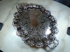 "Antique Vintage International Silver Co. Silver Plated 22"" Footed Platter,"