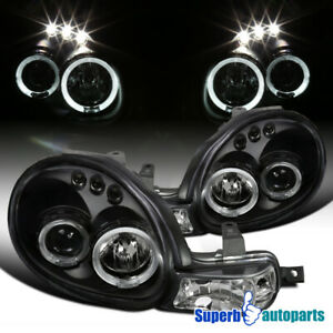 For 2000-2002 Dodge 00-02 Plymouth Neon Black Halo Projector Headlights LED Bar