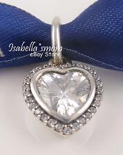 NEW 100% Genuine PANDORA Silver SPARKLING LOVE Heart PENDANT/Charm w CZ STONES