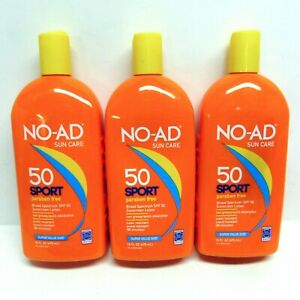 3 Pack No-Ad Sun Care SPF 50 Sport 16 Fl.Oz. Value Size Expiration 05/2021 Lot