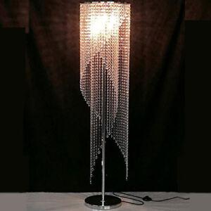 Modern Floor Lamp Crystal Raindrop Chandelier Shade Living Room Accent Light New