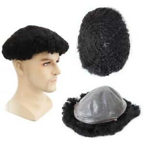Mens Toupee Afro Curl 8mm Thin Skin Human Hair Replacement V-looped System #1B