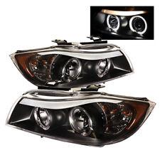 BMW 06-08 E90 3-Series 4Dr Sedan Black Dual Halo Projector Headlights Lamps